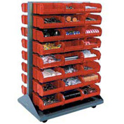 Mobile Double Sided Floor Rack With 48 Red Stacking Bins 36 x 54