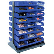 Mobile Double Sided Floor Rack With 24 Blue Stacking Bins 36 x 54