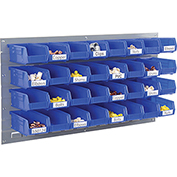 Wall Bin Rack Panel with 32 Blue Plastic Bins