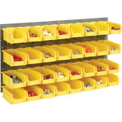 Wall Bin Rack Panel with 32 Yellow Bins