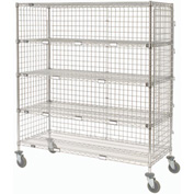 Nexel® Enclosed Wire Exchange Truck 5 Wire Shelves 800 Lb. Cap