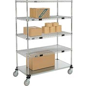 Nexel® Open Sided Wire Exchange Truck 4 Wire 1 Galvanized Shelf 800 Lb Cap