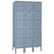 Lyon Locker DD53023SU Five Tier 12x12x12 3-Wide Hasp Handle Assembled Gray