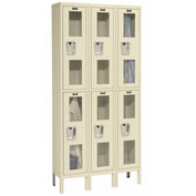 Hallowell USV3258-2PT Safety-View Locker Double Tier 12x15x36 6 Doors Unassembled Parchment