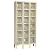 Hallowell USVP3228-6A-PT Safety-View Locker Six Tier 12x12x12 18 Doors Assembled Parchment