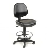 Antimicrobial Stool - Vinyl - 360° Footrest - Black