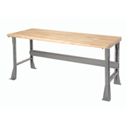 "72""W X 30""D X 34""H Ash Butcher Block Safety Edge Workbench - Gray"