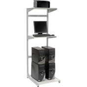 "24"" Computer Server Station, 24""W x 30""D x 74""H, Gray, Unassembled"