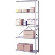 "Lyon Steel Shelving 22 Gauge 36""W x 12""D x 84""H Open Clip Style 5 Shelves Gy Add-On"