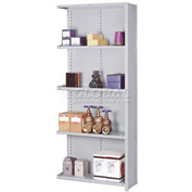 "Lyon Steel Shelving 22 Gauge 36""W x 18""D x 84""H Closed Clip Style 5 Shelf Gy Add-On"
