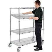 Nexel® E-Z Adjust Wire Shelf Truck 48x24x60 1200 Lb. Capacity with Brakes