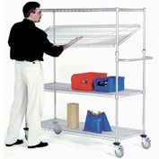 Nexel® E-Z Adjust Wire Shelf Truck 72x24x69 1200 Pound Capacity with Brakes