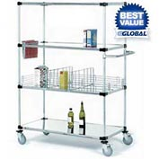 Nexel® Stainless Steel Shelf Truck 36x18x80 1200 Lb. Capacity with Brakes