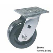 "Faultless Swivel Plate Caster 460S-5RB 5"" Polyolefin Wheel with Brake"