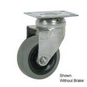 "Faultless Stainless Steel Swivel Plate Caster S890-5TB 5"" TPR Wheel with Brake"