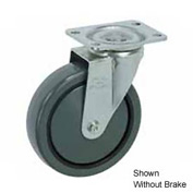 "Faultless Swivel Plate Caster 1498-4RB 4"" Polyurethane Wheel with Brake"
