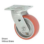 "Faultless Swivel Plate Caster 1438-6RB 6"" Mold-On Poly Wheel with Brake"