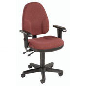 Multifunction Office Chair With Arms - Fabric - Burgundy