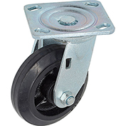 "Heavy Duty Swivel Plate Caster 5"" Mold-on Rubber Wheel 350 lb. Capacity"