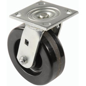 "Heavy Duty Swivel Plate Caster 6"" Plastic Wheel 800 Lb. Capacity"