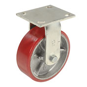 "Heavy Duty Rigid Plate Caster 6"" Polyurethane Wheel 800 lb. Capacity"