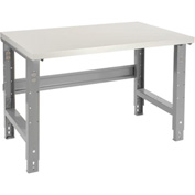 "48""W X 30""D Plastic Laminate Square Edge Work Bench - Adjustable Height - 1-5/8"" Top - Gray"