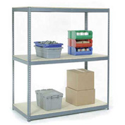 "Wide Span Rack 48""W x 24""D x 96""H With 3 Shelves Wood Deck 1200 Lb Capacity Per Level"