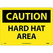 "Safety Signs - Caution Hard Hat Area - Rigid Plastic 10""H X 14""W"