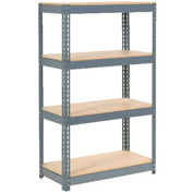 "Extra Heavy Duty Shelving 36""W x 24""D x 60""H With 4 Shelves, Wood Deck"