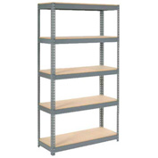 "Extra Heavy Duty Shelving 48""W x 24""D x 96""H With 5 Shelves, Wood Deck"