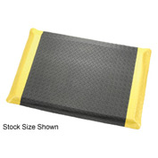 "Diamond Plate Ergonomic Mat 9/16"" Thick 3'W, 75' Roll Black/Yellow Border"