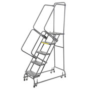 "Perforated 16""W 5 Step Steel Rolling Ladder 14""D Top Step"