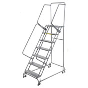 "Perforated 16""W 7 Step Steel Rolling Ladder 14""D Top Step"