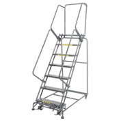 "Perforated 24""W 7 Step Steel Rolling Ladder 14""D Top Step- Lock Style B"