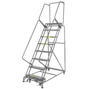"Perforated 24""W 8 Step Steel Rolling Ladder 14""D Top Step"