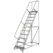"Perforated 24""W 11 Step Steel Rolling Ladder 14""D Top Step"