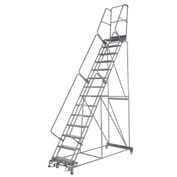 "Perforated 24""W 14 Step Steel Rolling Ladder 14""D Top Step"
