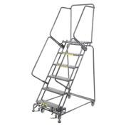 "Grip 16""W 6 Step Steel Rolling Ladder 14""D Top Step"