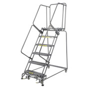 "Grip 24""W 6 Step Steel Rolling Ladder 14""D Top Step- Lock Type B"