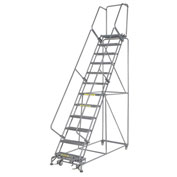"Grip 24""W 12 Step Steel Rolling Ladder 14""D Top Step"