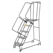 "Perforated 24""W 5 Step Steel Rolling Ladder 21""D Top Step"