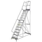 "Perforated 24""W 13 Step Steel Rolling Ladder 21""D Top Step"