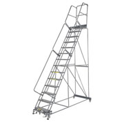 "Perforated 24""W 14 Step Steel Rolling Ladder 21""D Top Step"