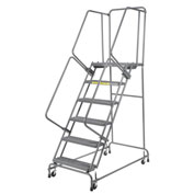"Grip 24""W 6 Step Steel Rolling Ladder 21""D Top Step- Lock Type A"