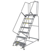 "Grip 24""W 7 Step Steel Rolling Ladder 21""D Top Step- Lock Type B"