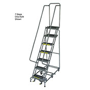 "10 Step 24"" W Grip All Directional Steel Rolling Ladder- Safety Angle"