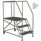 "Mobile 3 Step Steel 36""W X 36""L Work Platform Ladder Without Handrails"