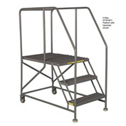 "Mobile 4 Step Steel 36""W X 36""L Work Platform Ladder With Handrails"