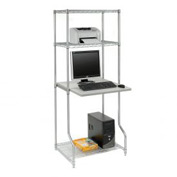 "Nexel™ 4-Shelf Wire Computer LAN Workstation, 30""W x 30""D x 74""H, Chrome"