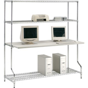 "Nexel™ 4-Shelf Wire Computer LAN Workstation, 60""W x 30""D x 74""H, Chrome"
